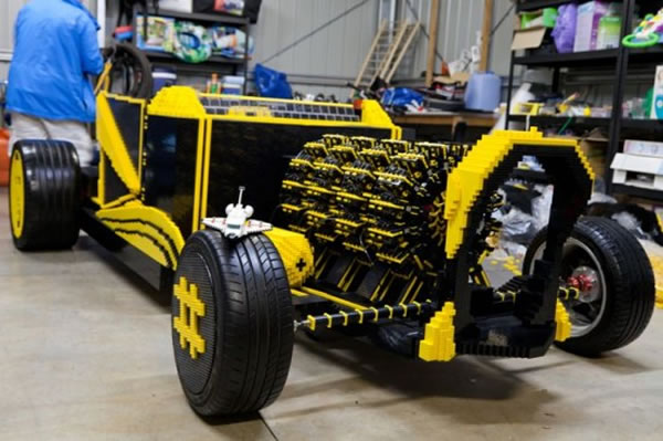 Guy Builds Full Size Lego Car With Fully Functioning Lego Car Engine 2