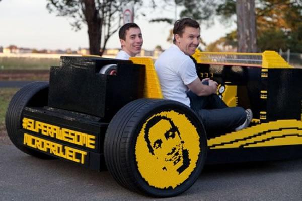 Guy Builds Full Size Lego Car With Fully Functioning Lego Car Engine 3