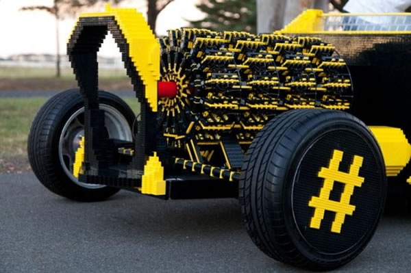 Guy Builds Full Size Lego Car With Fully Functioning Lego Car Engine 4
