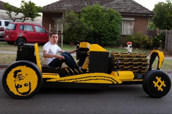 Guy Builds Full Size Lego Car With Fully Functioning Lego Car Engine