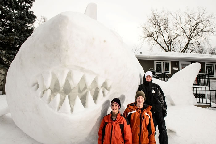 Minnesota Brothers Build Outdoor Sculpture Of A Great White Snow Shark 2