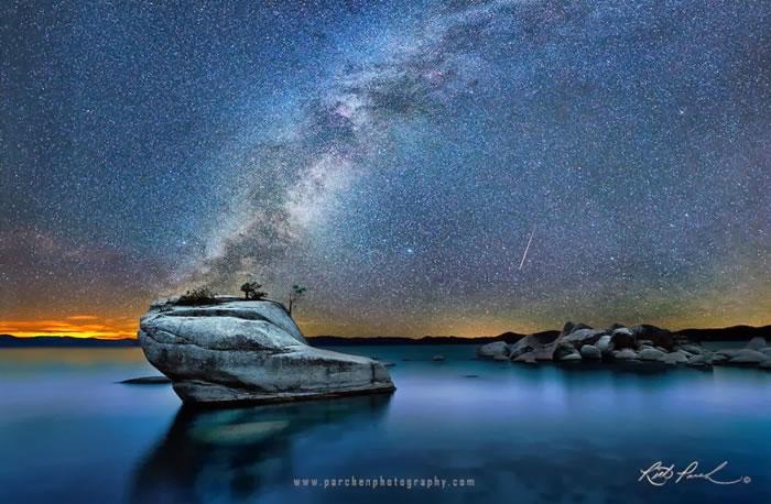 8. Meteor and Milky Way over Bonsai Rock, Lake Tahoe