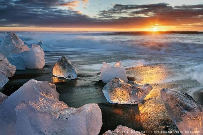 Chasing the Light at Jokulsarlon Beach , Iceland