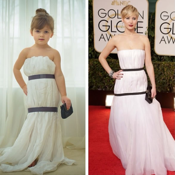 Cute Little Girl Models Paper Versions Of Famous Fashion Design Dresses 1