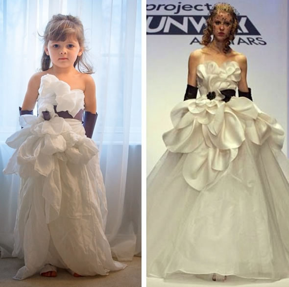 Cute Little Girl Models Paper Versions Of Famous Fashion Design Dresses 13