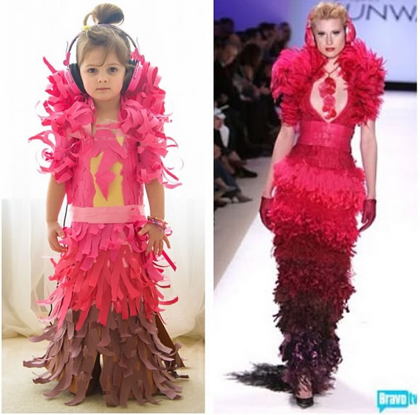 Cute Little Girl Models Paper Versions Of Famous Fashion Design Dresses 14