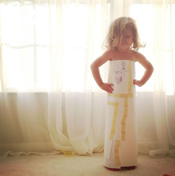 Cute Little Girl Models Paper Versions Of Famous Fashion Design Dresses 15