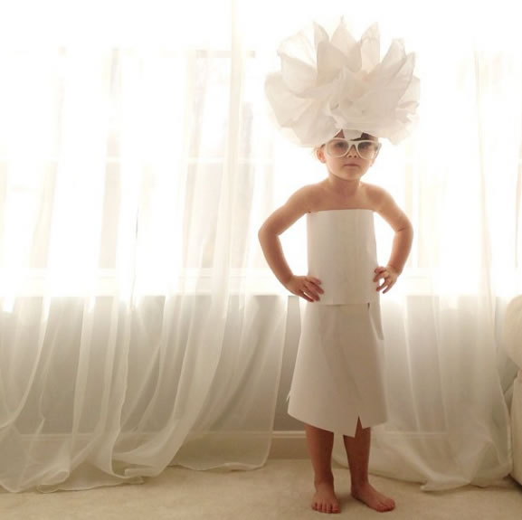 Cute Little Girl Models Paper Versions Of Famous Fashion Design Dresses 18