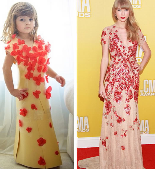 Cute Little Girl Models Paper Versions Of Famous Fashion Design Dresses 6