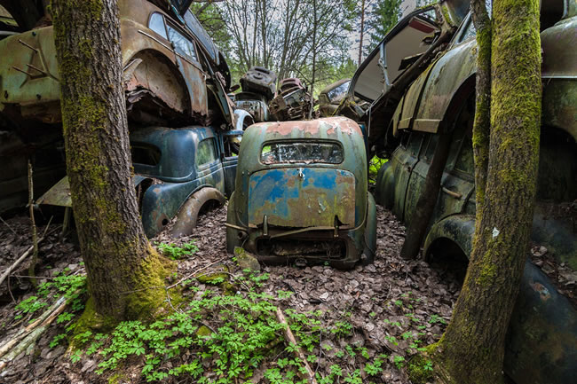 Eerie Classic Cars Graveyard At Abondaned Old Cars Junk Yard 11