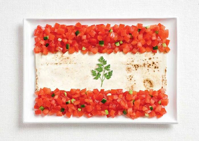 Σημαίες των χωρών φτιαγμένες από τα παραδοσιακά υλικά τους, Λίβανος