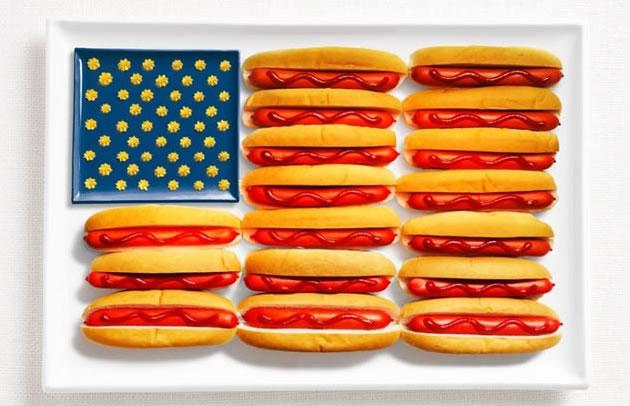Σημαίες των χωρών φτιαγμένες από τα παραδοσιακά υλικά τους, ΗΠΑ