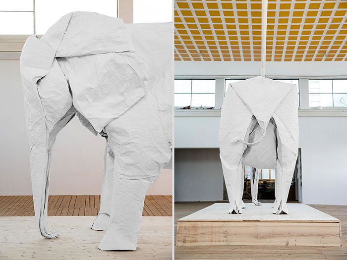 Artist Creates Life Size Elephant From Origami Paper (4)