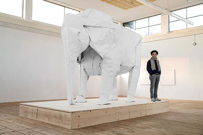 Artist Creates Life Size Elephant From Origami Paper (6)