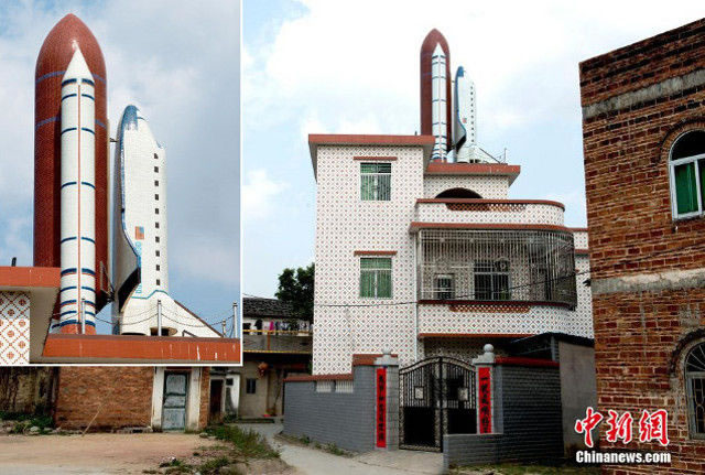 Chinese Man Builds Giant Space Shuttle Replica On His House Roof 2