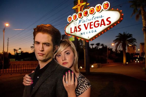 Girl Marries Life Size Cut-Out Of Robert Pattinson In Las Vegas