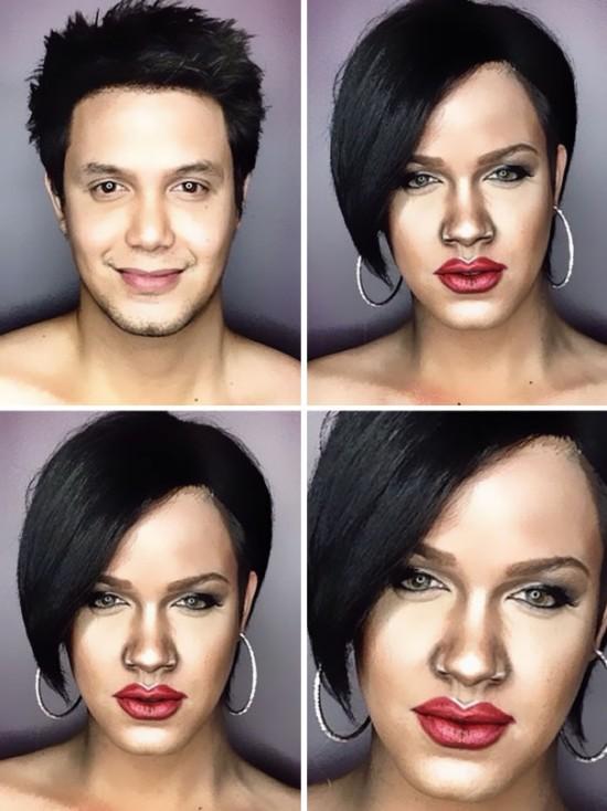 Celebrity makeup transformation
