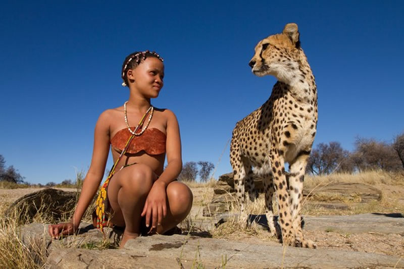 San Girl with Cheetah