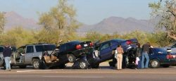 How should drivers handle a multiple car accident?