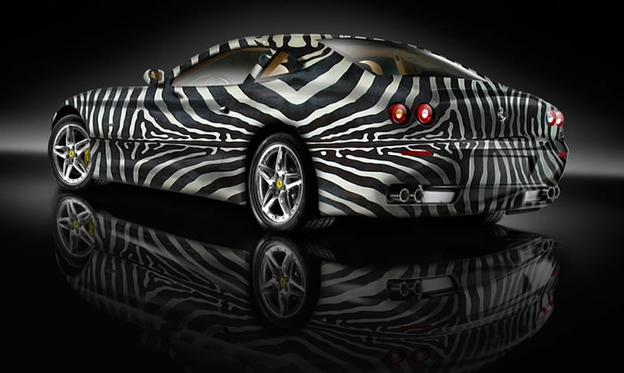 Custom Auto Paint Job Sports Cars Dressed Up As Zebras