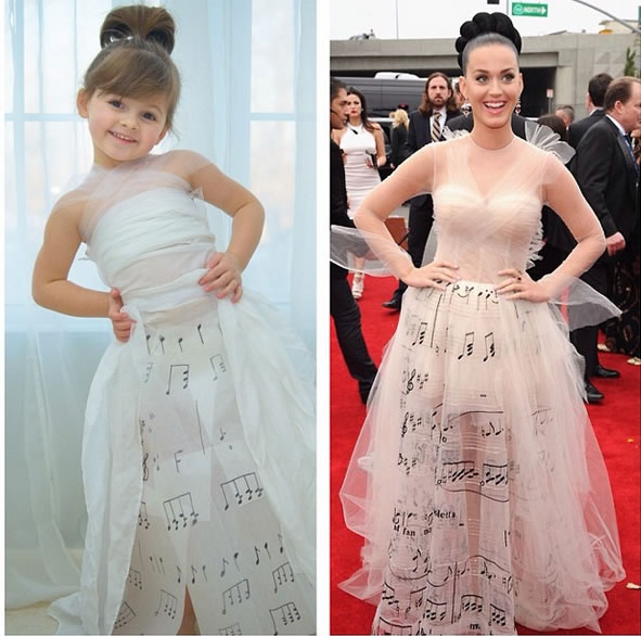 Cute Little Girl Models Paper Version Of Famous Fashion